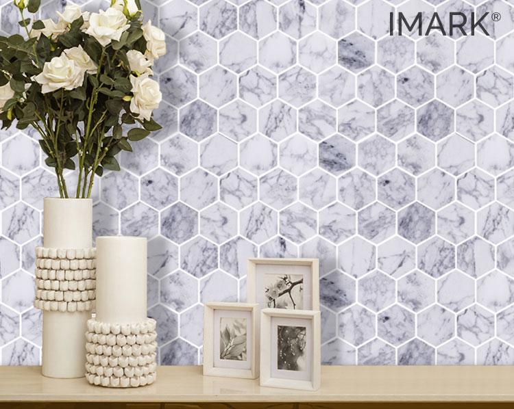 Hexagon Bianco Carrara Marble Mosaic Backsplash Tile Factory