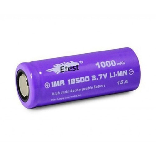 Efest Purple IMR 18500 3.7v 1000mAh 15A Battery