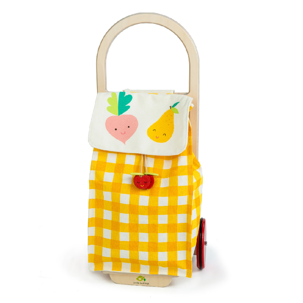 Wooden Shopping Trolley Yellow