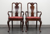 HICKORY CHAIR Queen Anne Style Dining Arm Chairs - Pair 1