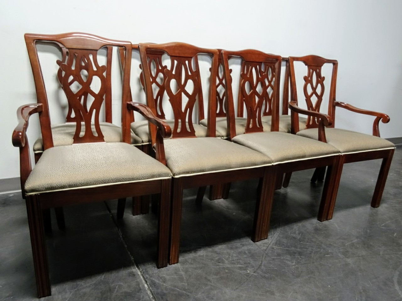 High Quality SOLD OUT   DREXEL Chippendale Straight Leg Mahogany Dining Chairs   Set Of 8