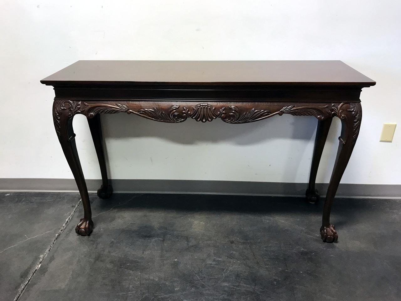 SOLD OUT  DREXEL HERITAGE Heirlooms Chippendale Inlaid Mahogany Ball Claw  Console Sofa Tab