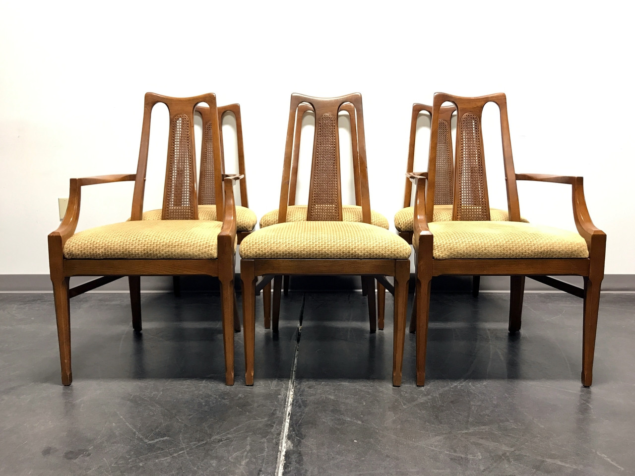 White furniture co mid century modern walnut cane dining chairs set