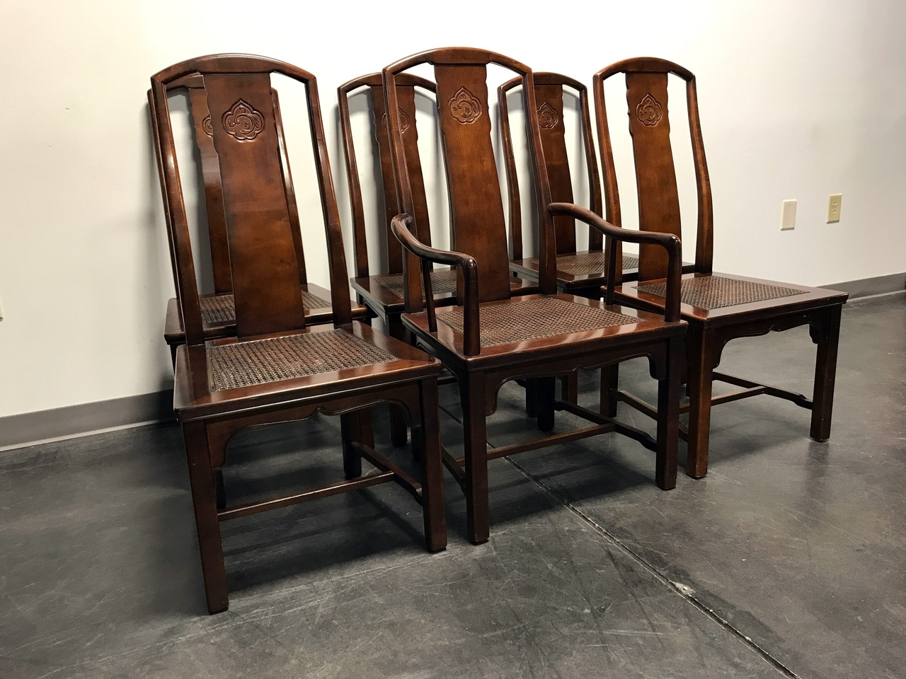 SOLD OUT Vintage HENREDON Asian Chinoiserie Dining Chairs w Cane Seats Set of 6