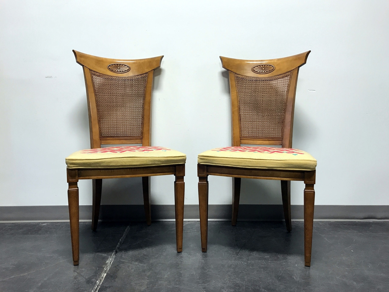 SOLD OUT   DREXEL HERITAGE Palazzo Italian Provincial Neoclassical Cane  Dining Side Chairs   Pair