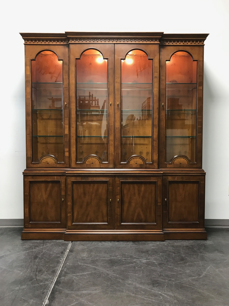 Sold out henredon 18th century collection inlaid yew wood breakfront china cabinet