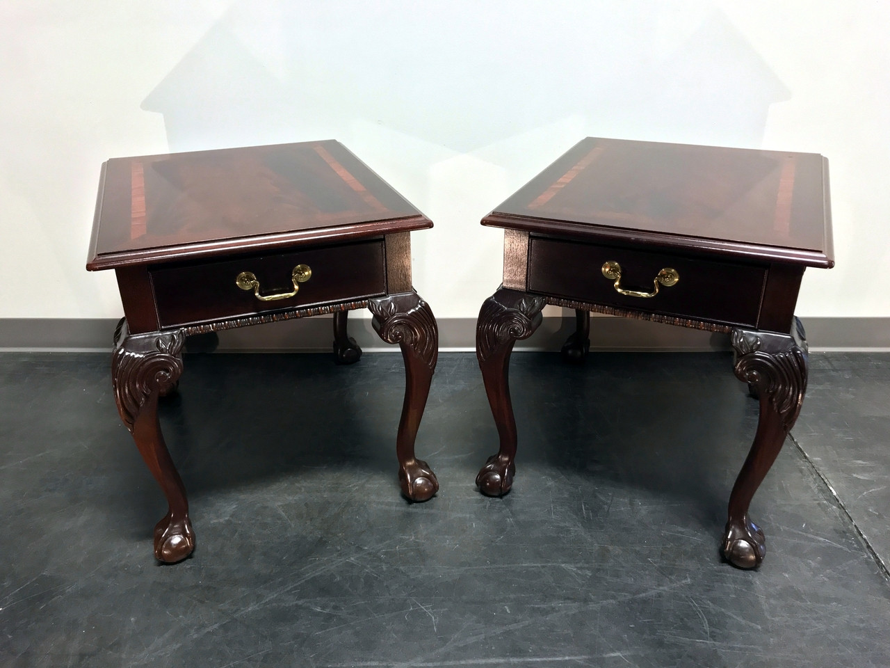 Sold Out Thomasville Mahogany Collection Chippendale End Side Tables Ball In Claw Feet Pair