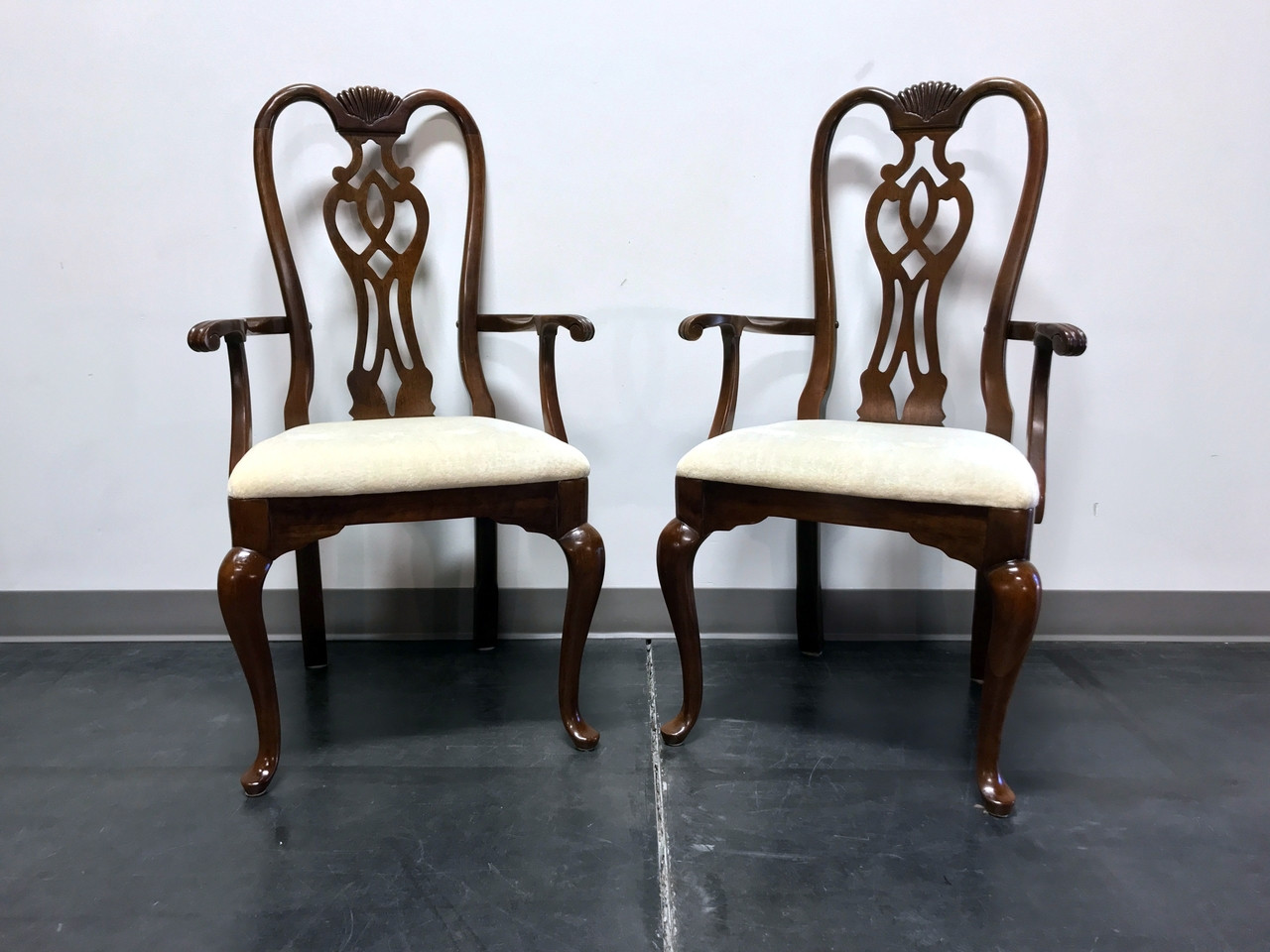 SOLD OUT - THOMASVILLE Cherry Queen Anne Style Dining Captain\'s Arm Chairs  - Pair