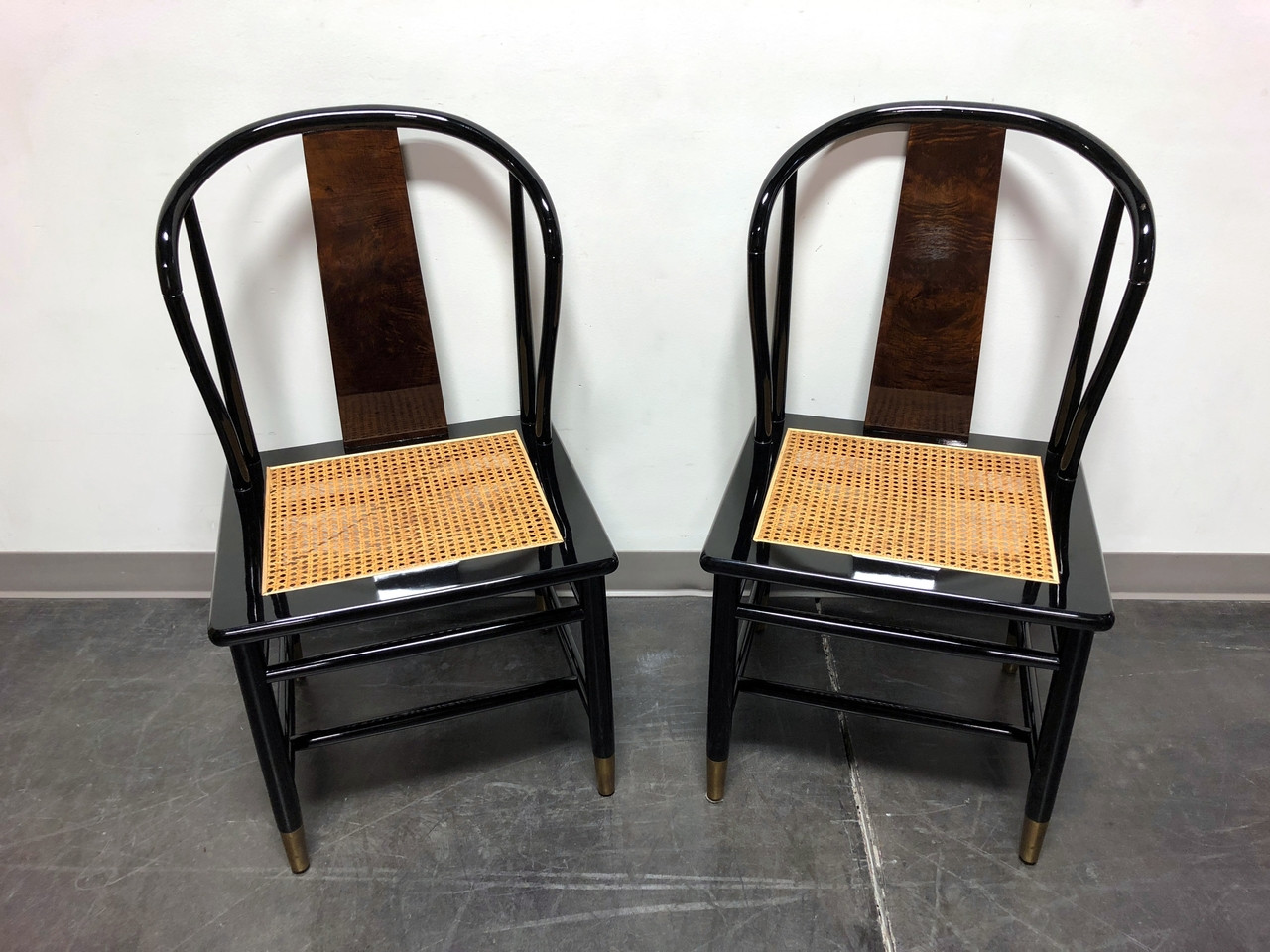 SOLD OUT - HENREDON Asian Chinoiserie Black Lacquer Cane Seat Dining Chairs  - Pair
