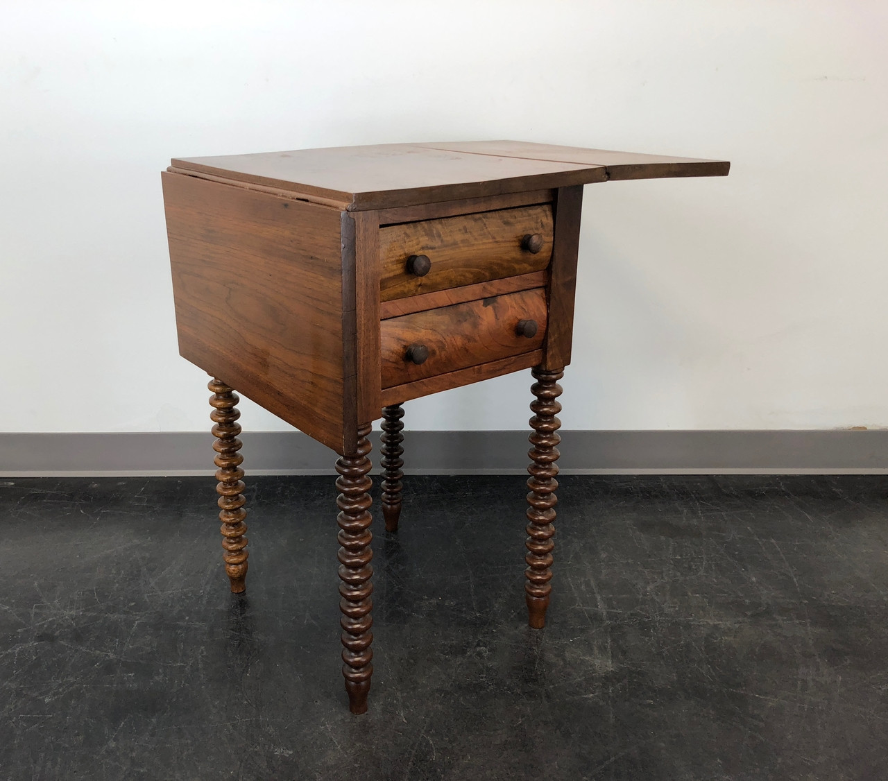 Antique Walnut Drop Leaf Side Table W Barley Twist Legs Boyd S