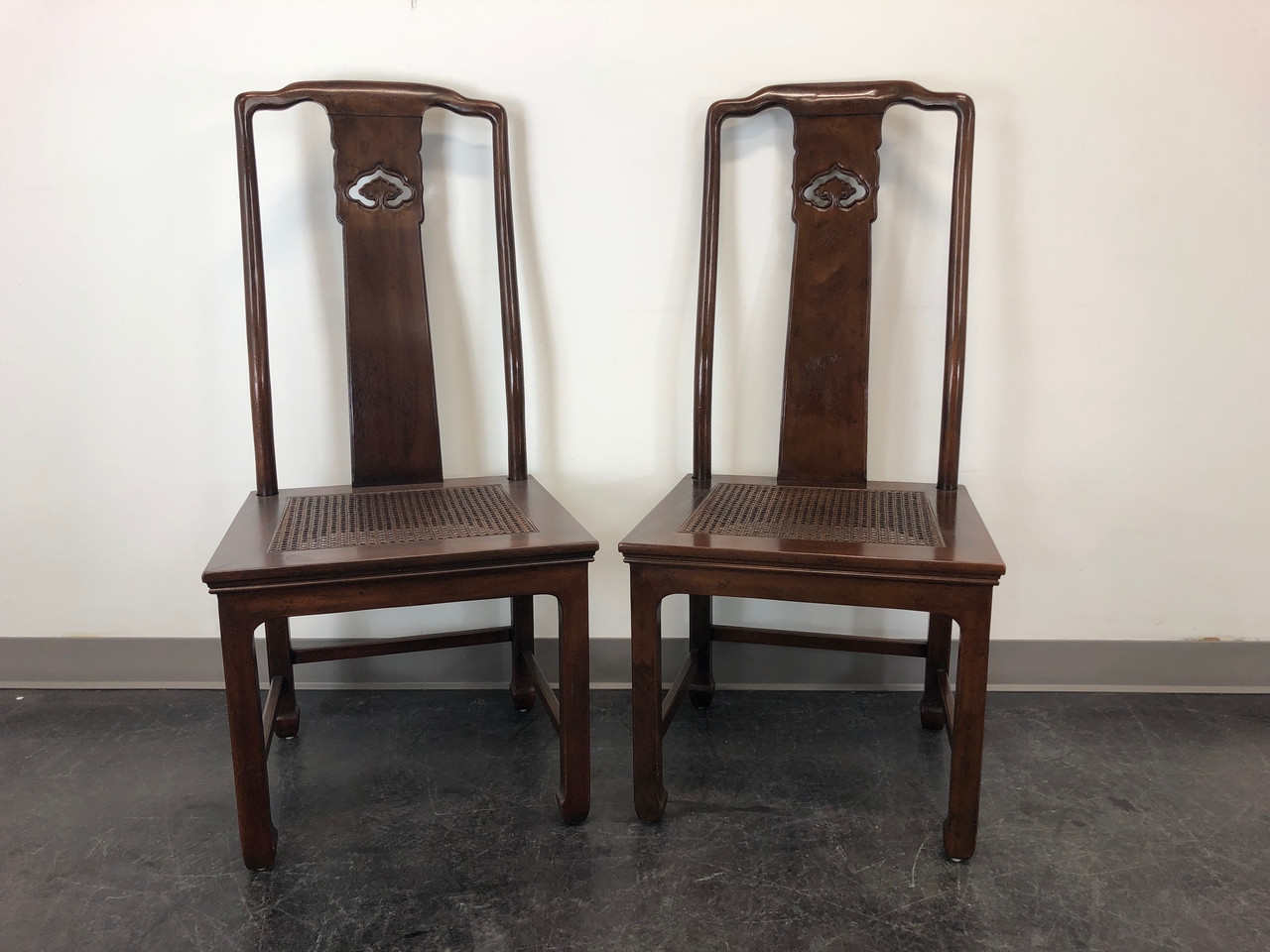 SOLD OUT - HENREDON Pan Asian Mahogany & Cane Dining Side Chairs S 28-8902  - Pair 2