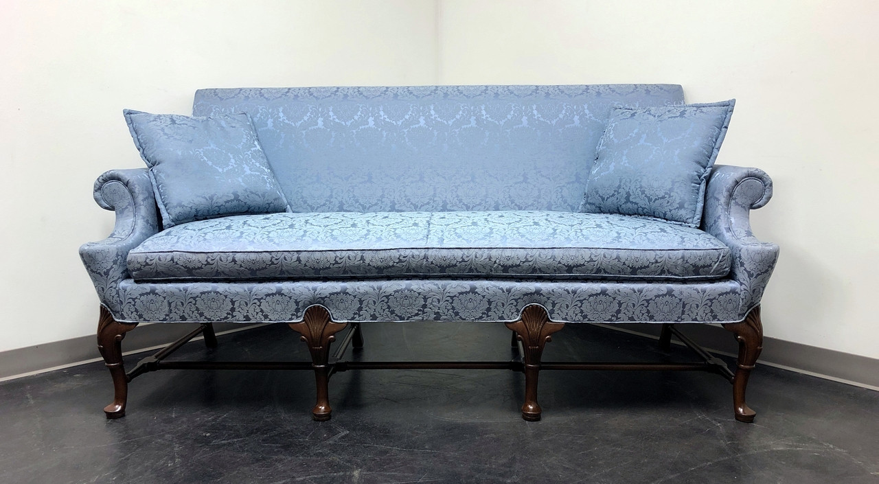 SOLD - HICKORY CHAIR Queen Anne Sofa Settee in Blue Brocade - Boyd's Fine  Furnishings