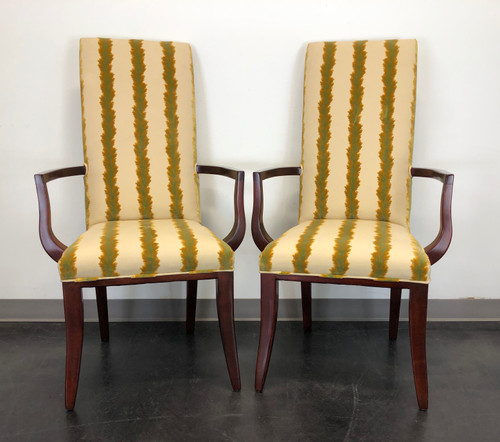 CHARLES STEWART Transitional Style Mahogany Arm Chairs - Pair