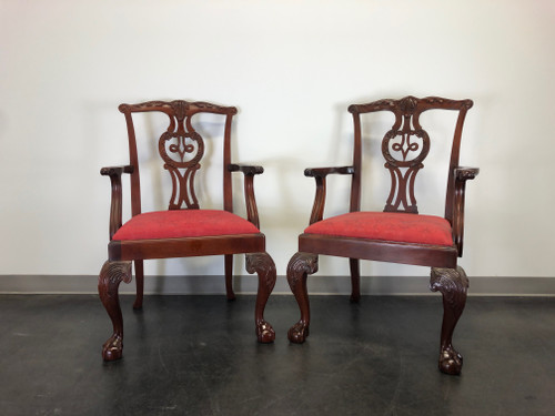SOLD - BAKER Chippendale Ball in Claw Mahogany Dining Armchairs - Pair