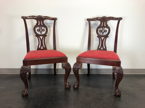 BAKER Chippendale Ball in Claw Mahogany Dining Side Chairs - Pair 1