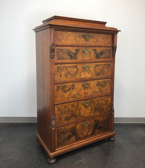 Antique 19th Century Burl Walnut German Biedermeier Tall Chest of Drawers
