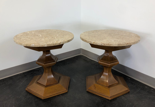 TOMLINSON Mid-Century Round Marble Top End Side Tables - Pair