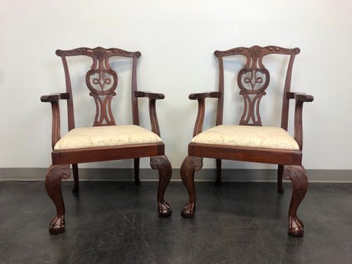 BAKER Mahogany Chippendale Ball in Claw Dining Armchairs - Pair