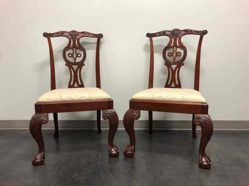 BAKER Mahogany Chippendale Ball in Claw Dining Side Chairs - Pair A
