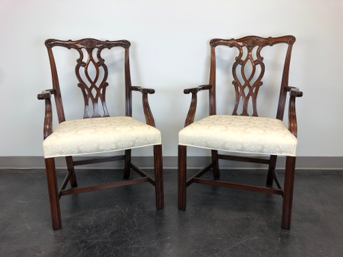 Mahogany Chippendale Straight Leg Dining Armchairs by Hickory - Pair