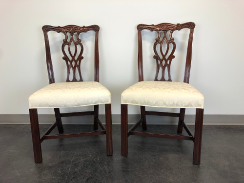 Mahogany Chippendale Straight Leg Dining Side Chairs by Hickory - Pair 2