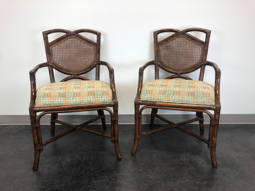Rattan Cane Faux Bamboo Arms Chairs - Pair A