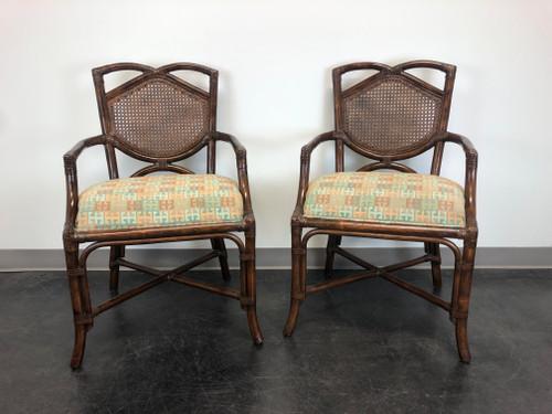 Rattan Cane Faux Bamboo Arms Chairs - Pair B