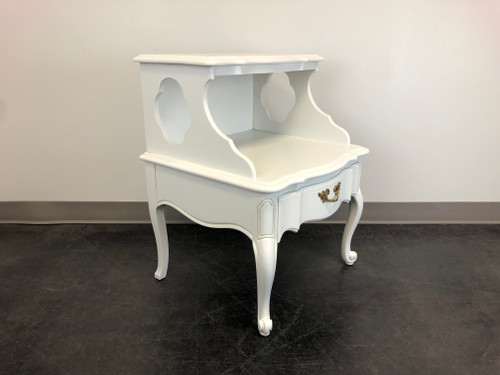 French Provincial Louis XV Style White Painted Nightstand
