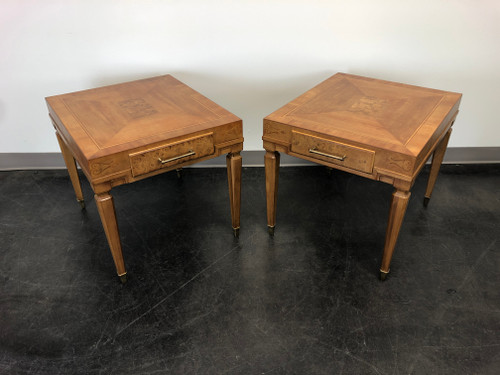 SOLD - Mid-Century Inlaid Burl Wood End Side Tables by Weiman - Pair