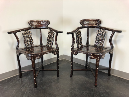 Vintage Chinese Rosewood Mother of Pearl Inlay Corner Chairs - Pair