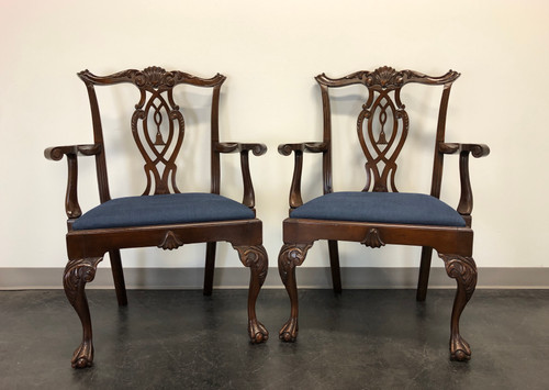 Antique 19th Century Mahogany Chippendale Dragon Claw Arm Chairs - Pair
