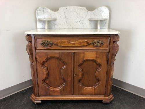 Antique Victorian Walnut Marble Top Washstand Circa 1900