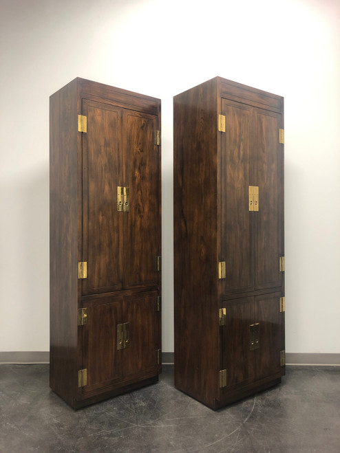 SOLD - HENREDON Scene One Campaign Style Armoire Cabinets - Pair