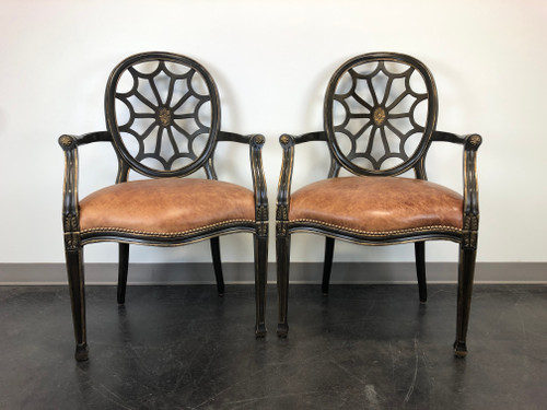SOLD - Transitional Style Spider Web Back Armchairs with Leather Seats