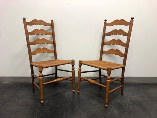 SOLD - ETHAN ALLEN Ladder Back Rush Seat Dining Side Chairs - Pair 2