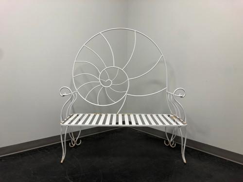 SOLD - Art Nouveau Nautilus Shell Wrought Iron Outdoor Garden Bench 1
