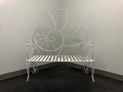 Art Nouveau Nautilus Shell Wrought Iron Outdoor Garden Bench