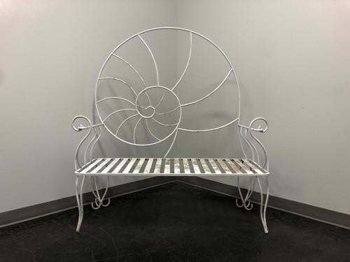 Art Nouveau Nautilus Shell Wrought Iron Outdoor Garden Bench 2