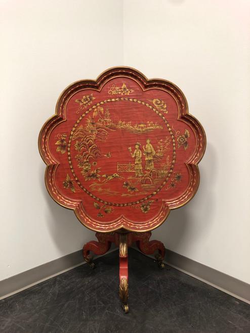 Vintage Chinoiserie Painted Tilt-Top Pie Crust Table