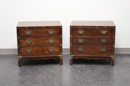 HENREDON Asian Japanese Tansu Campaign Style Walnut Nightstand / Bedside Chests - Pair