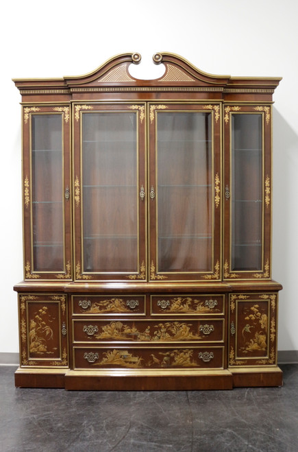 Vintage Mahogany Chinoiserie Chippendale Breakfront China Cabinet by FANCHER