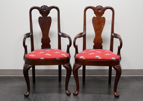SOLD - HICKORY CHAIR Queen Anne Style Dining Arm Chairs - Pair 2