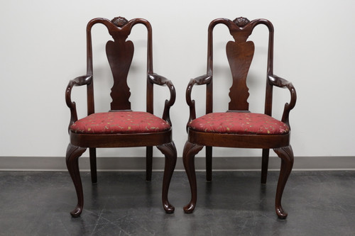 SOLD - HICKORY CHAIR Queen Anne Style Dining Arm Chairs - Pair 1