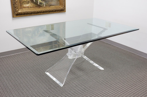 LION IN FROST Mid Century Hollywood Regency Lucite and Glass Butterfly Dining Table