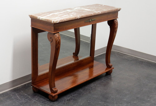 Ethan Allen Regent's Park Mahogany Marble Top Mirrored Back Console Table