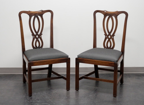 BEVAN FUNNELL Reprodux Mahogany Georgian Straight Leg Dining Side Chairs - Pair 1