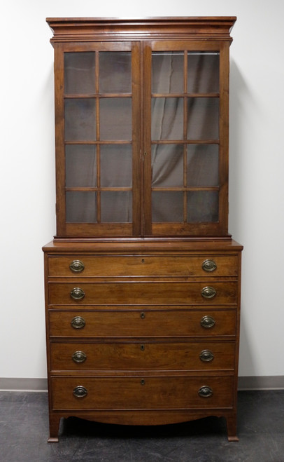 Antique 19th Century Georgian Walnut Butler's Secretary with Later Bookcase
