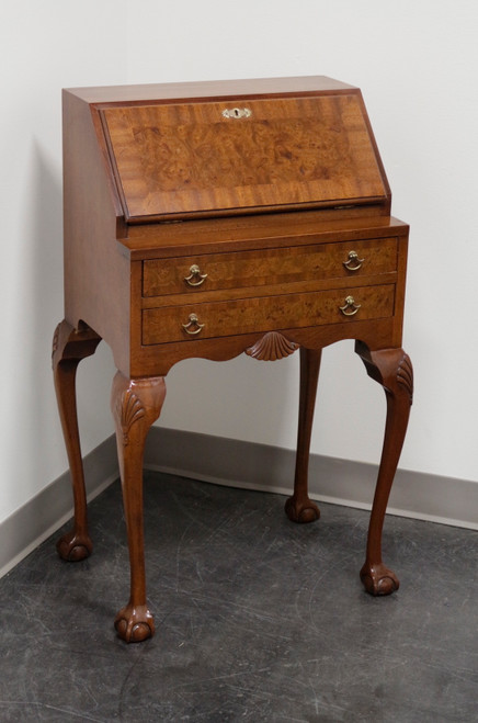 Mahogany with Burl Walnut Inlay Georgian Style Diminutive Secretary Desk