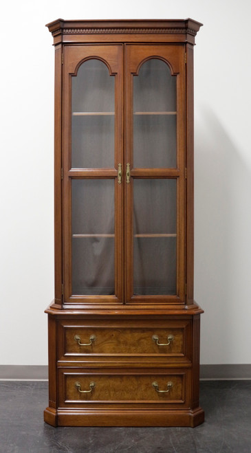 Mahogany with Burl Walnut Inlay Chippendale Curio Cabinet / Bookcase