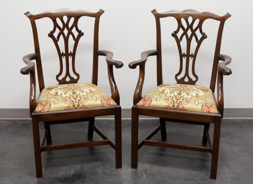 Solid Mahogany Chippendale Straight Leg Dining Captain's Armchairs - Pair